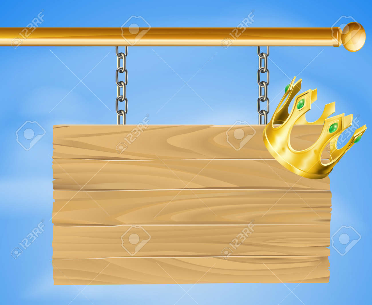 Illustration of a wooden hanging sign with a gold crown on it Stock Vector - 14719972