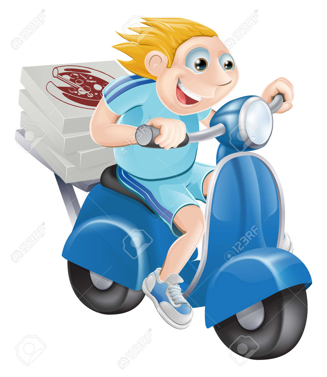 A cartoon pizza delivery man delivering pizza on his moped motor bike. Stock Vector - 14795223