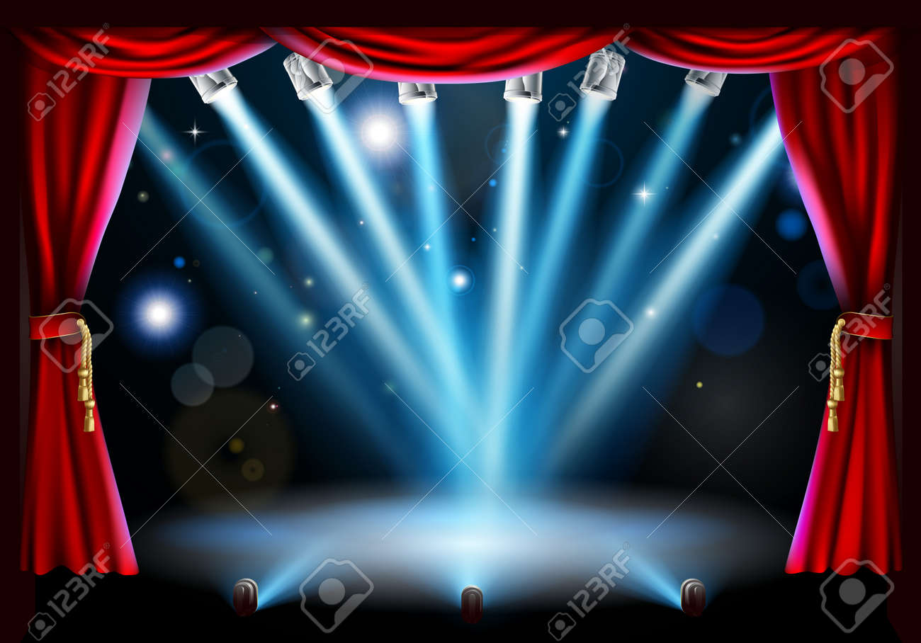 Blue stage curtains blue stage curtain vector free vector in - Stage Background Illustration With Blue Stage Spot Lights Pointing To The Centre Of The Stage And