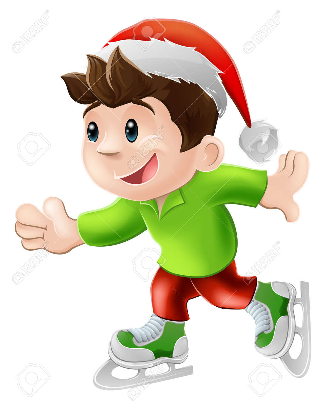 Cartoon illustration of a happy young man or boy having and ice skate in a Christmas Santa hat Stock Vector - 14795230