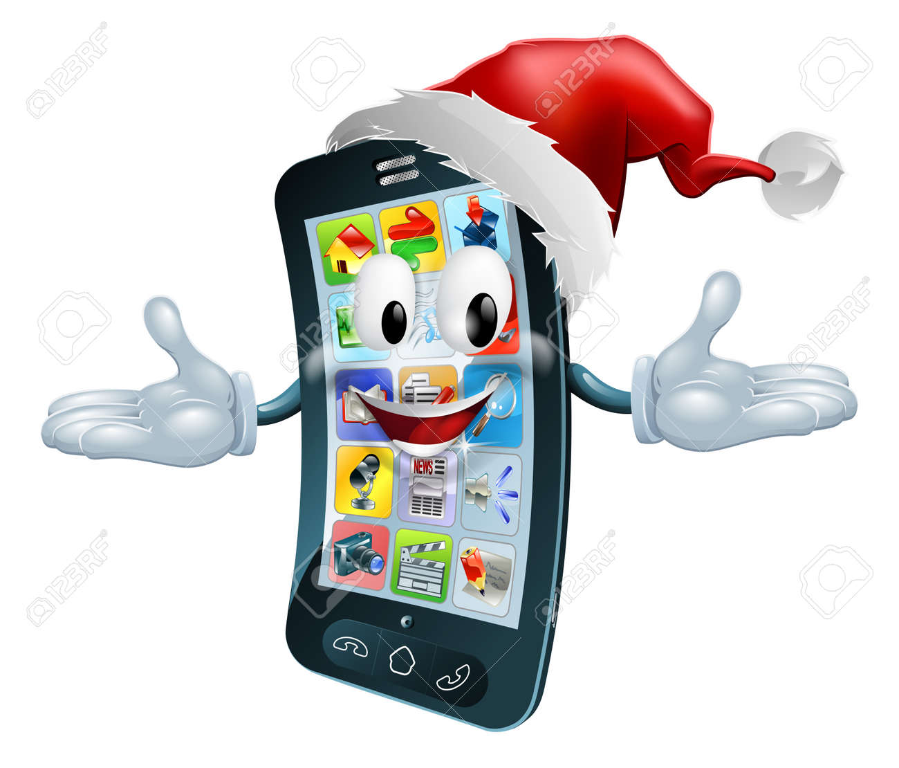 Illustration of a happy Christmas cell phone wearing a Santa Claus hat Stock Vector - 14795240