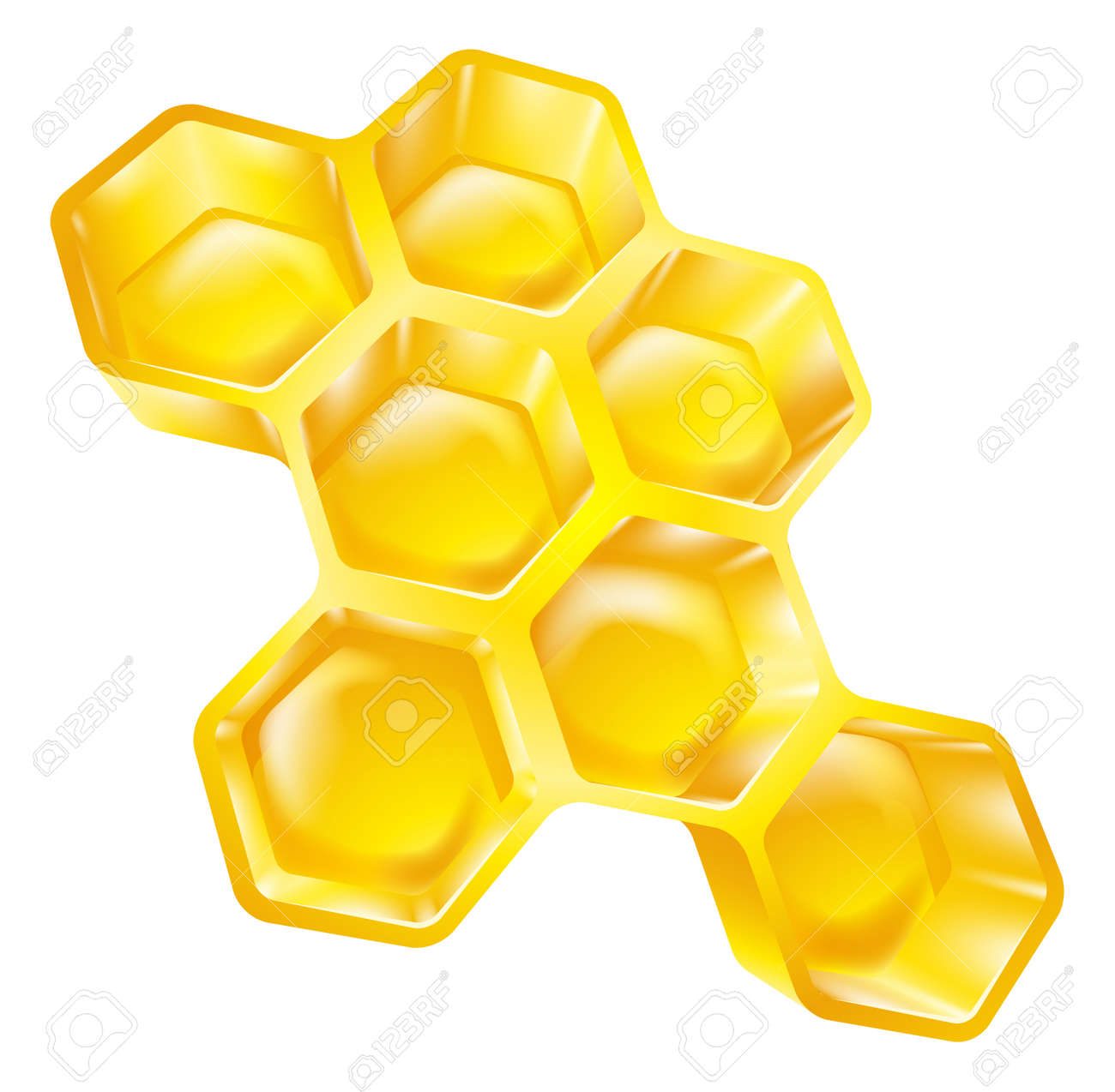 Illustration Of Bees Wax Honeycomb Full Delicious Honey Stock Vector