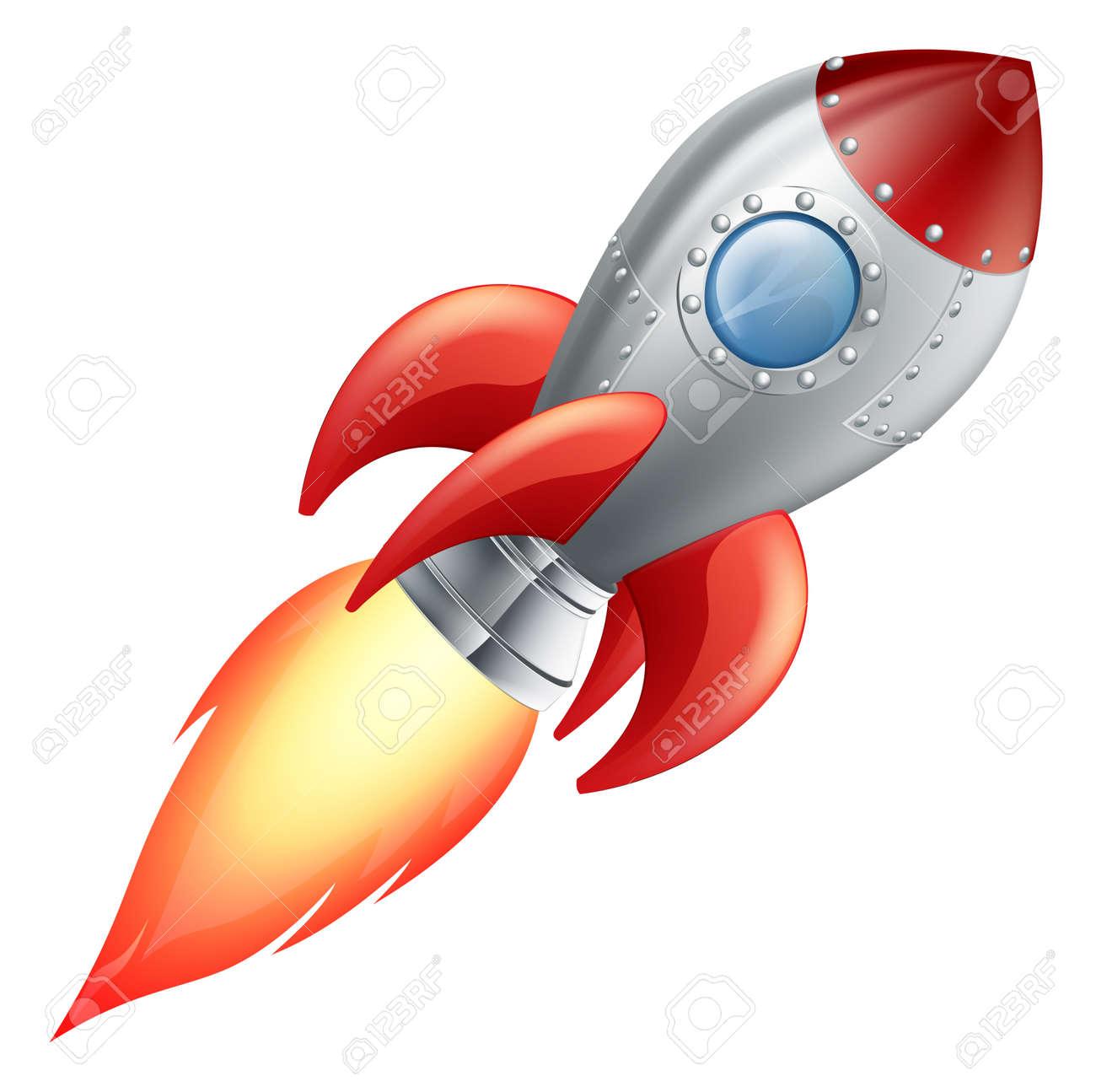かわいい漫画のロケット宇宙船のイラストのイラスト素材ベクタ Image