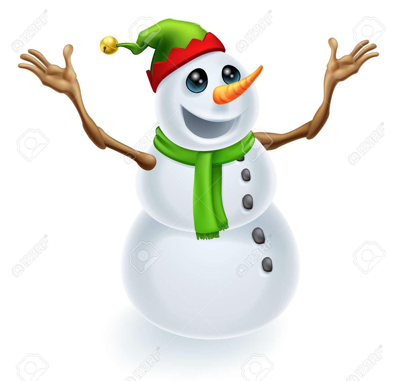 Glückliche Weihnachten Schneemann Trägt Einen Niedlichen Grünen Und ...