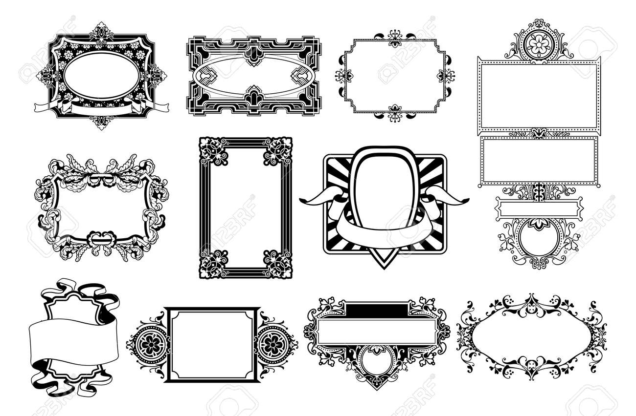 A set of ornate frame and border design elements Stock Vector - 14991920