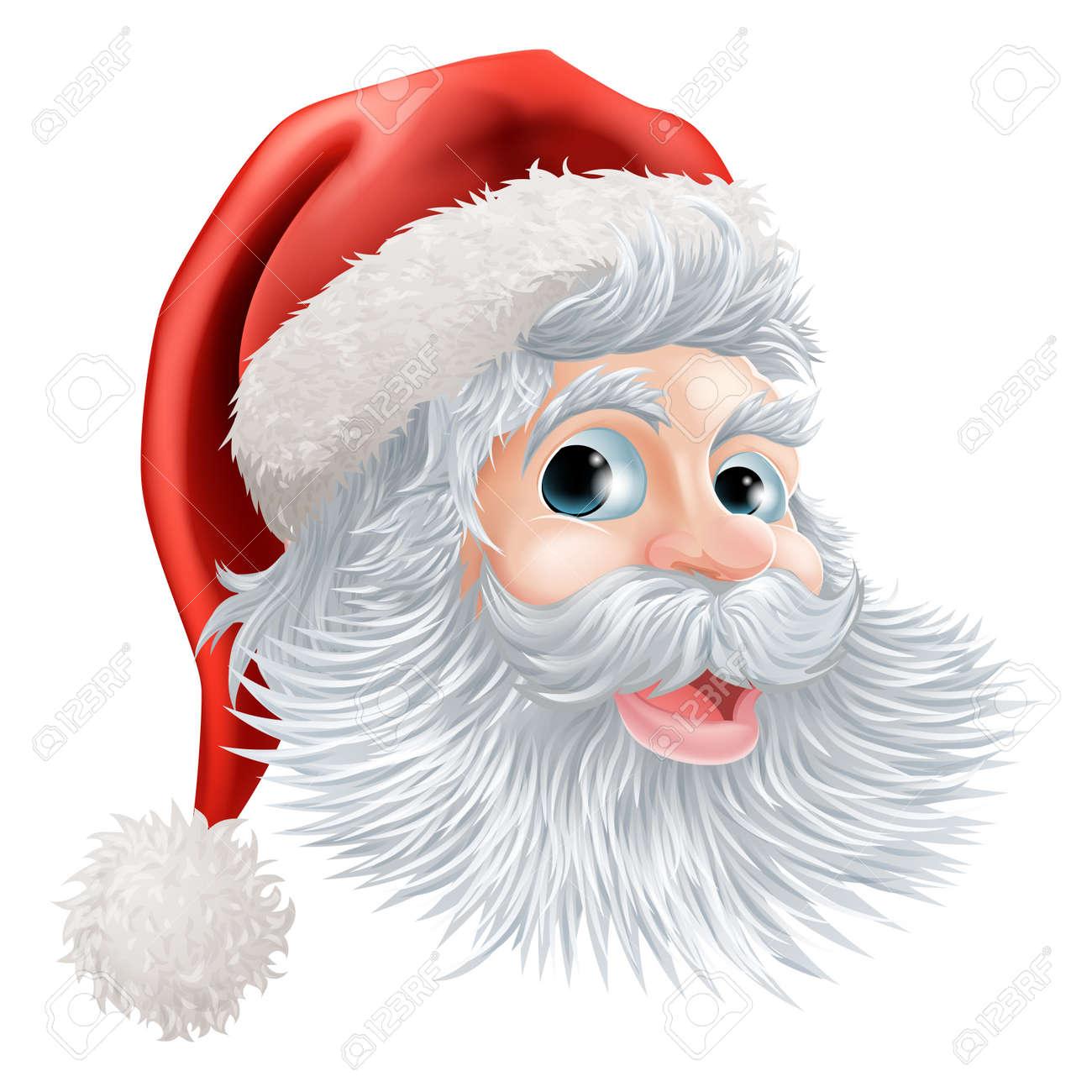 幸せな漫画クリスマス サンタの顔のイラストのイラスト素材ベクタ