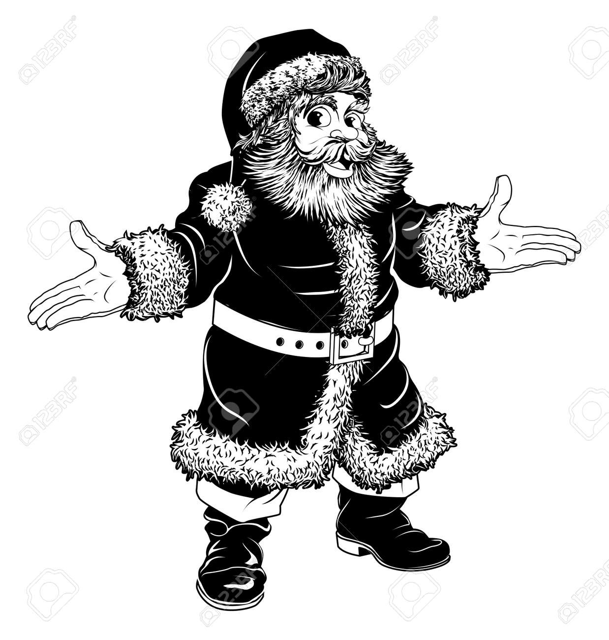 illustration of a black and white christmas santa claus royalty