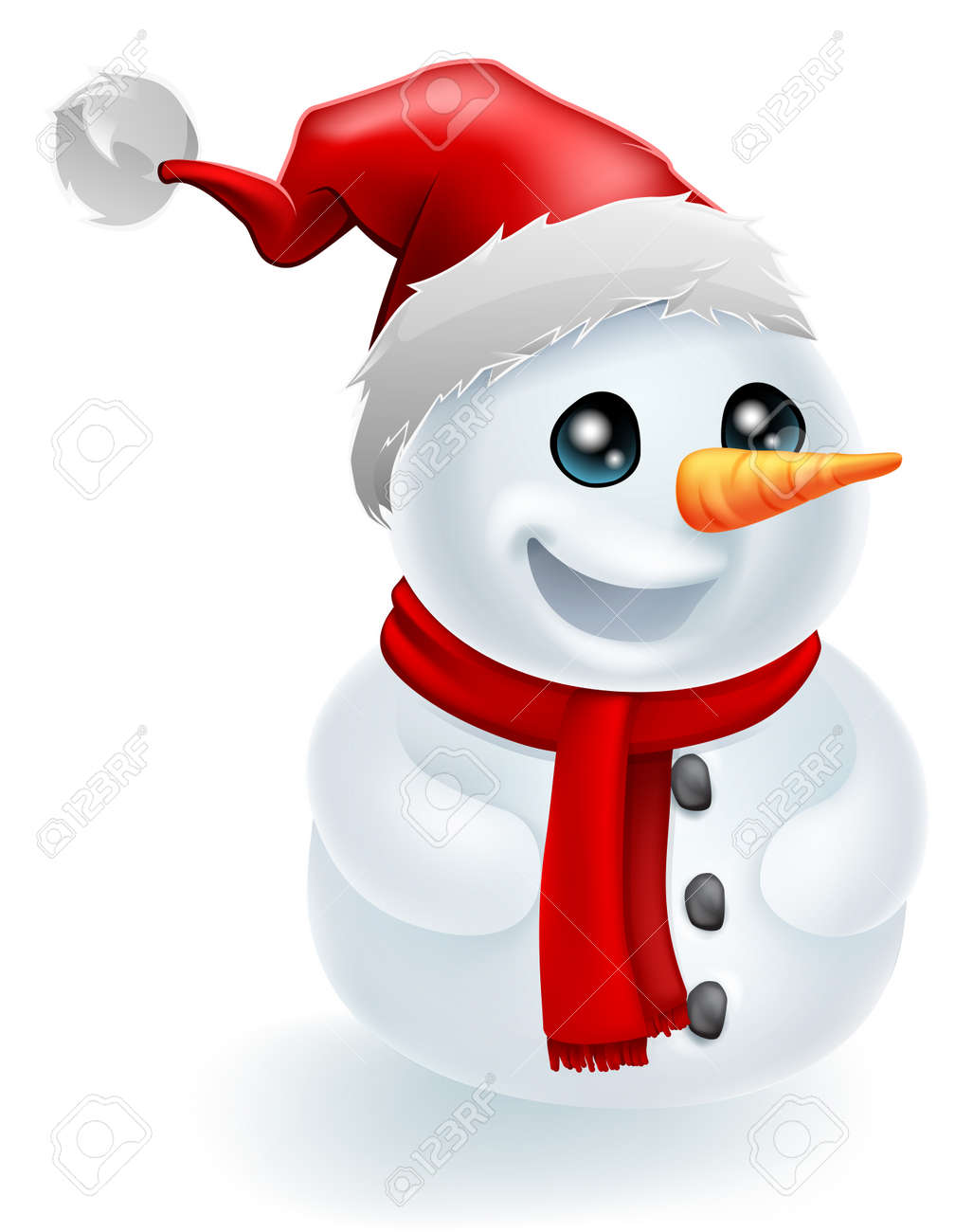 Christmas Snowman wearing a Santa Hat and red scarf Stock Vector - 15128743