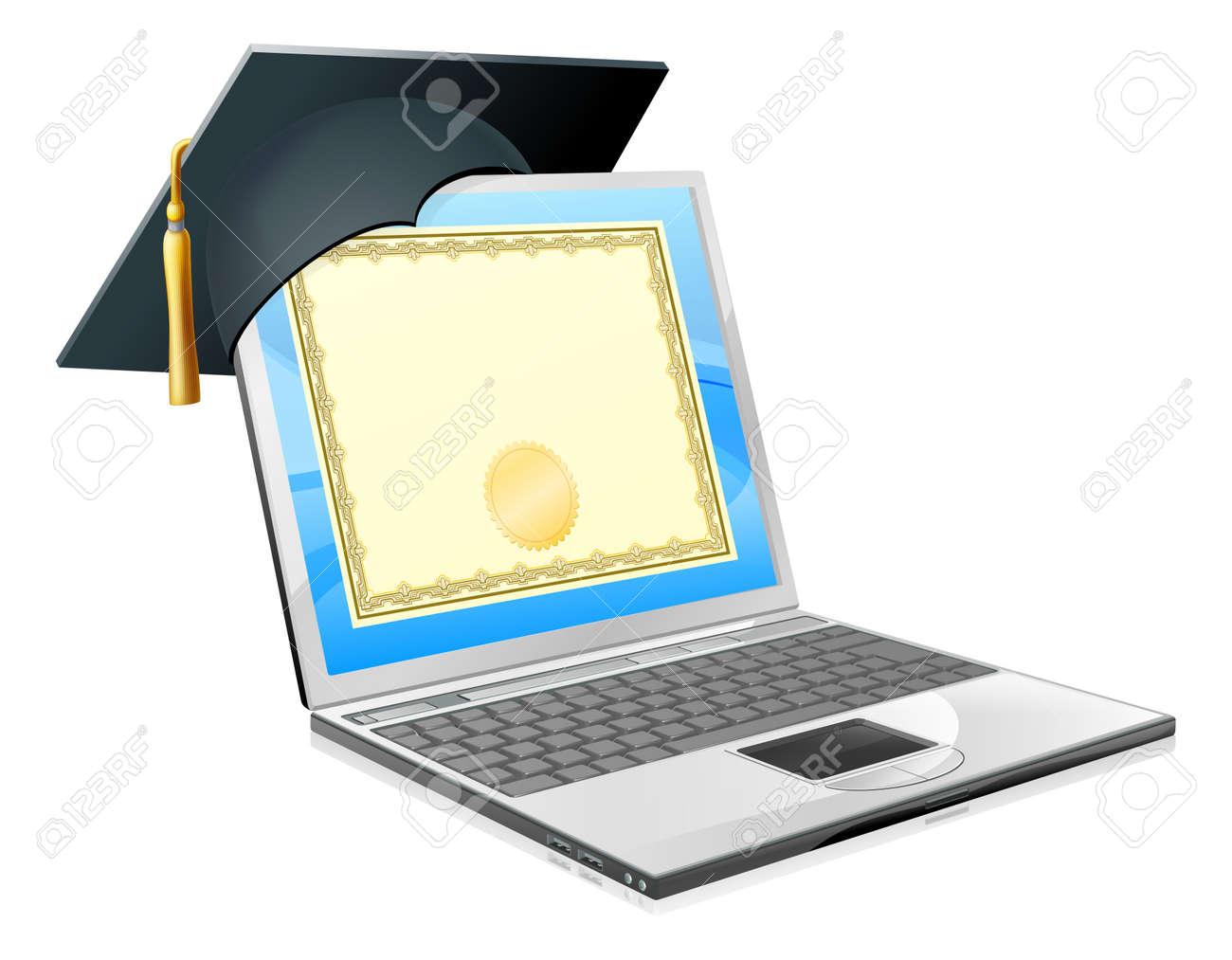 Education Laptop Konzept Illustration Von Einem Laptop Computer Mit