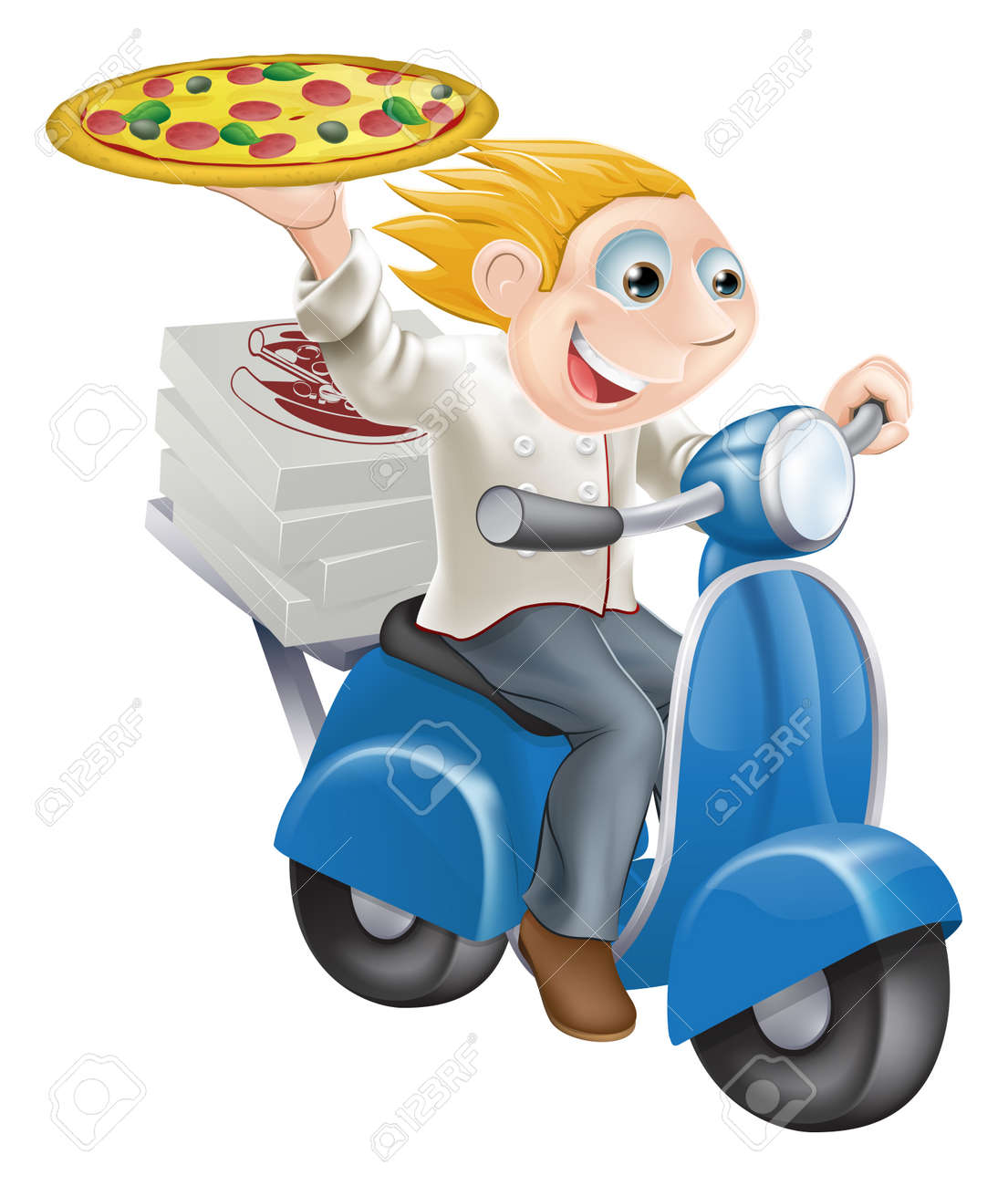 Graphic of a fast food pizza chef speeding along in his chef whites delivering pizza. Stock Vector - 15128741