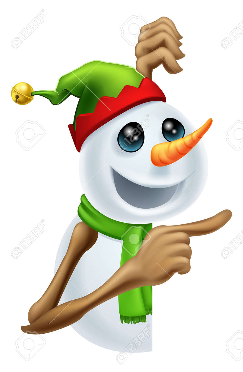 Illustration of a cute happy Christmas snowman in pixie or elf hat pointing Stock Vector - 15128750
