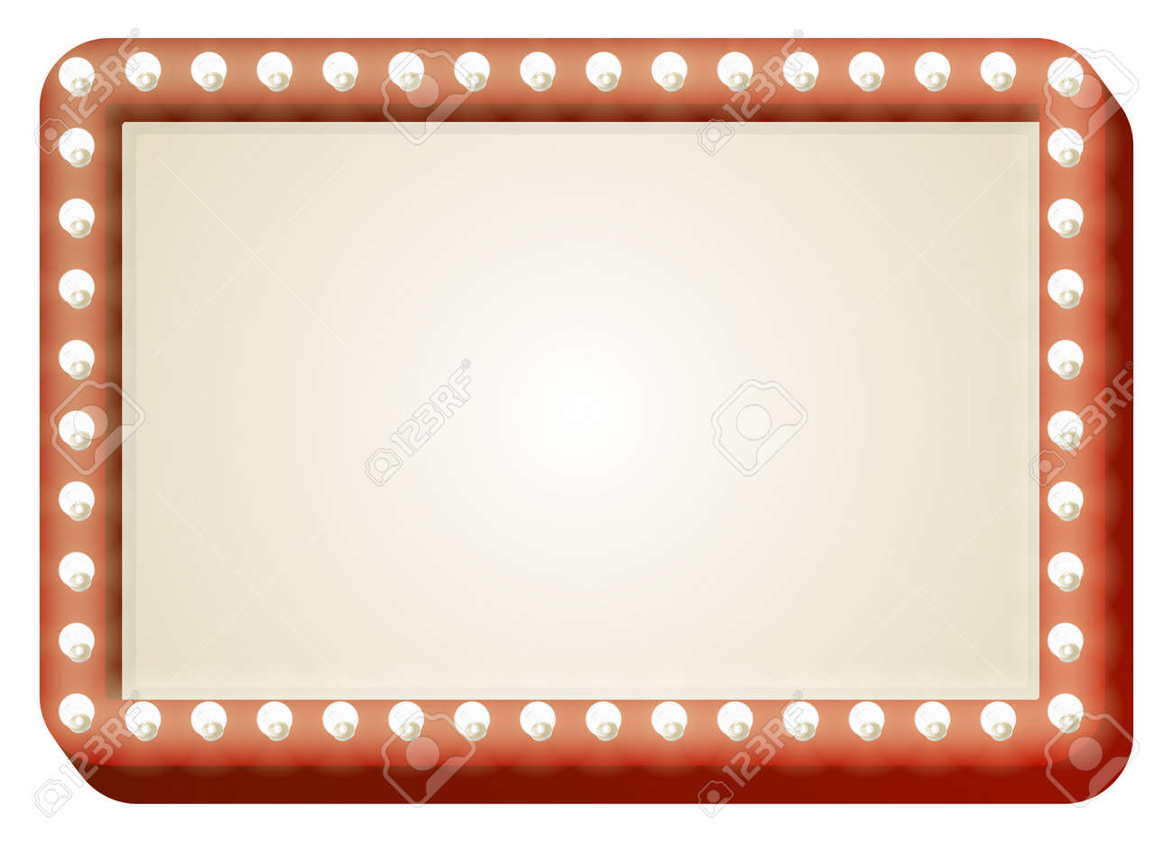Illustration of red sign with copy space and light bulbs surround Stock Vector - 15128752