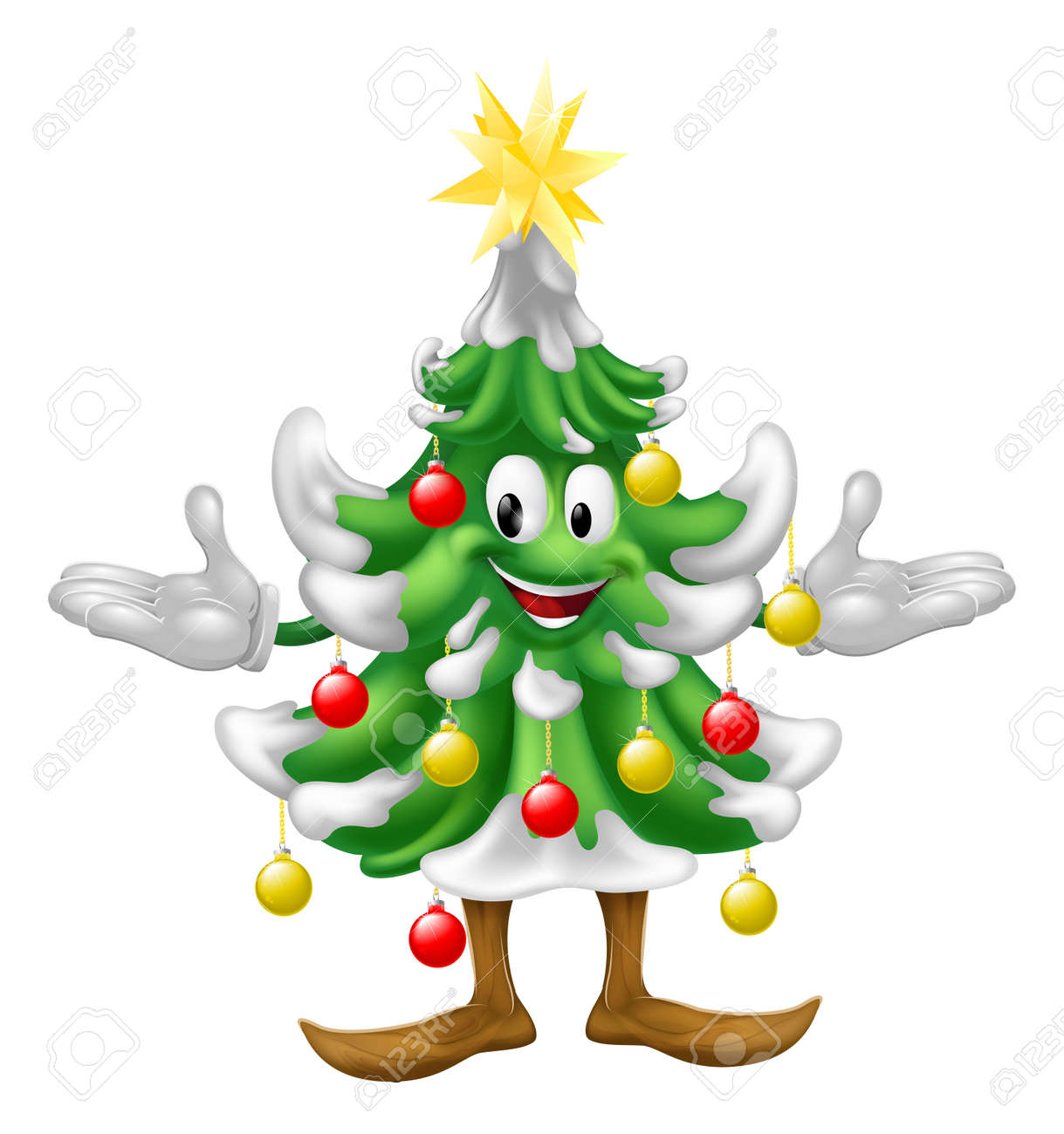 A Decorated Cartoon Christmas Tree Man With Baubles And A Star