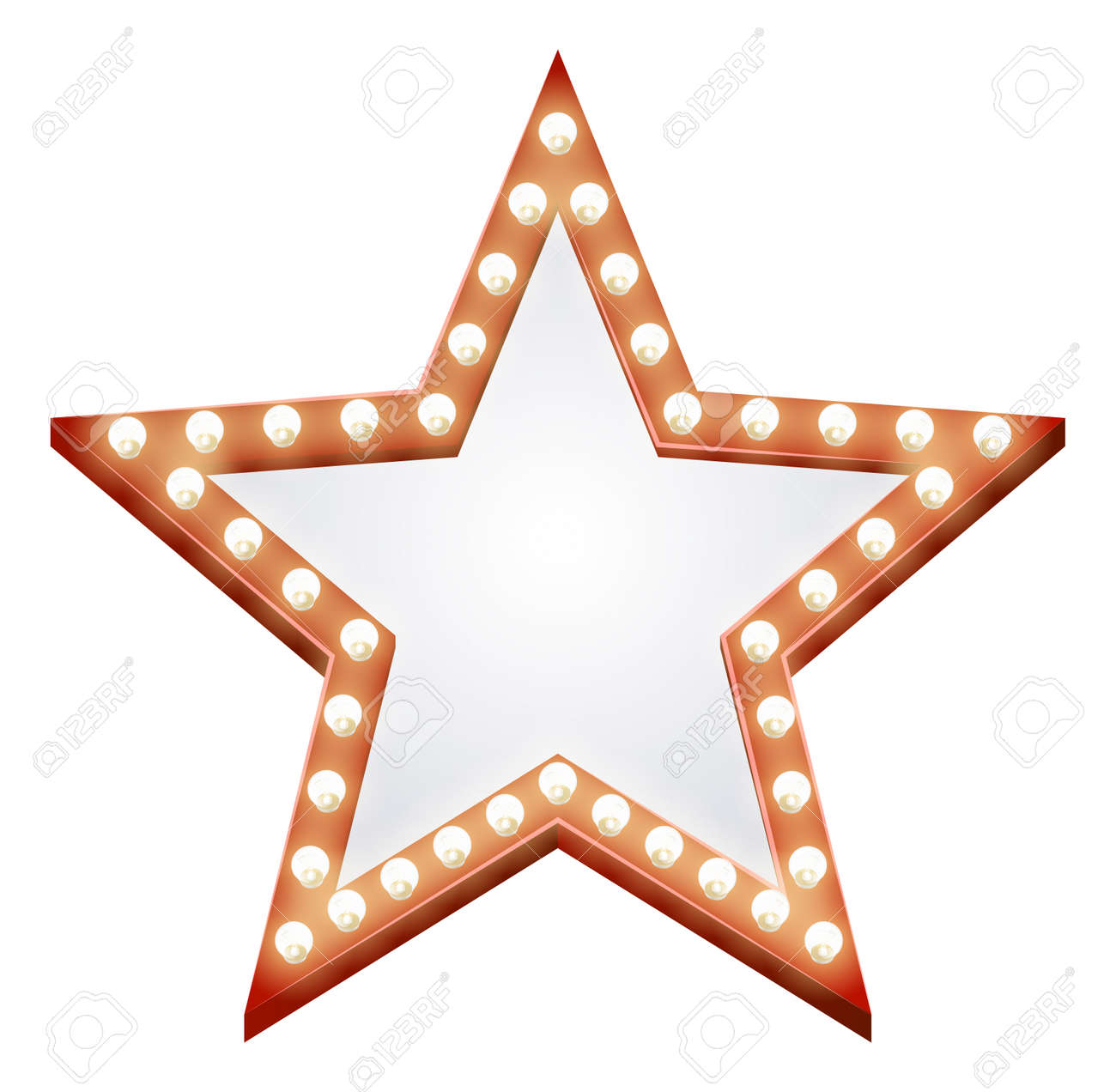 Illustration of a star shaped illuminated sign with light bulbs round it - 15262055