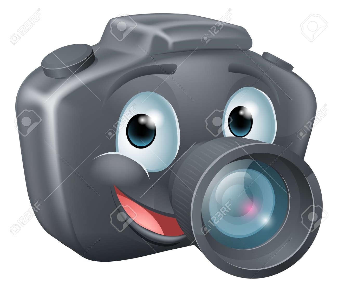 Camera Dslr Camera Cartoon illustration of a cute happy dslr camera mascot character with big smile stock vector