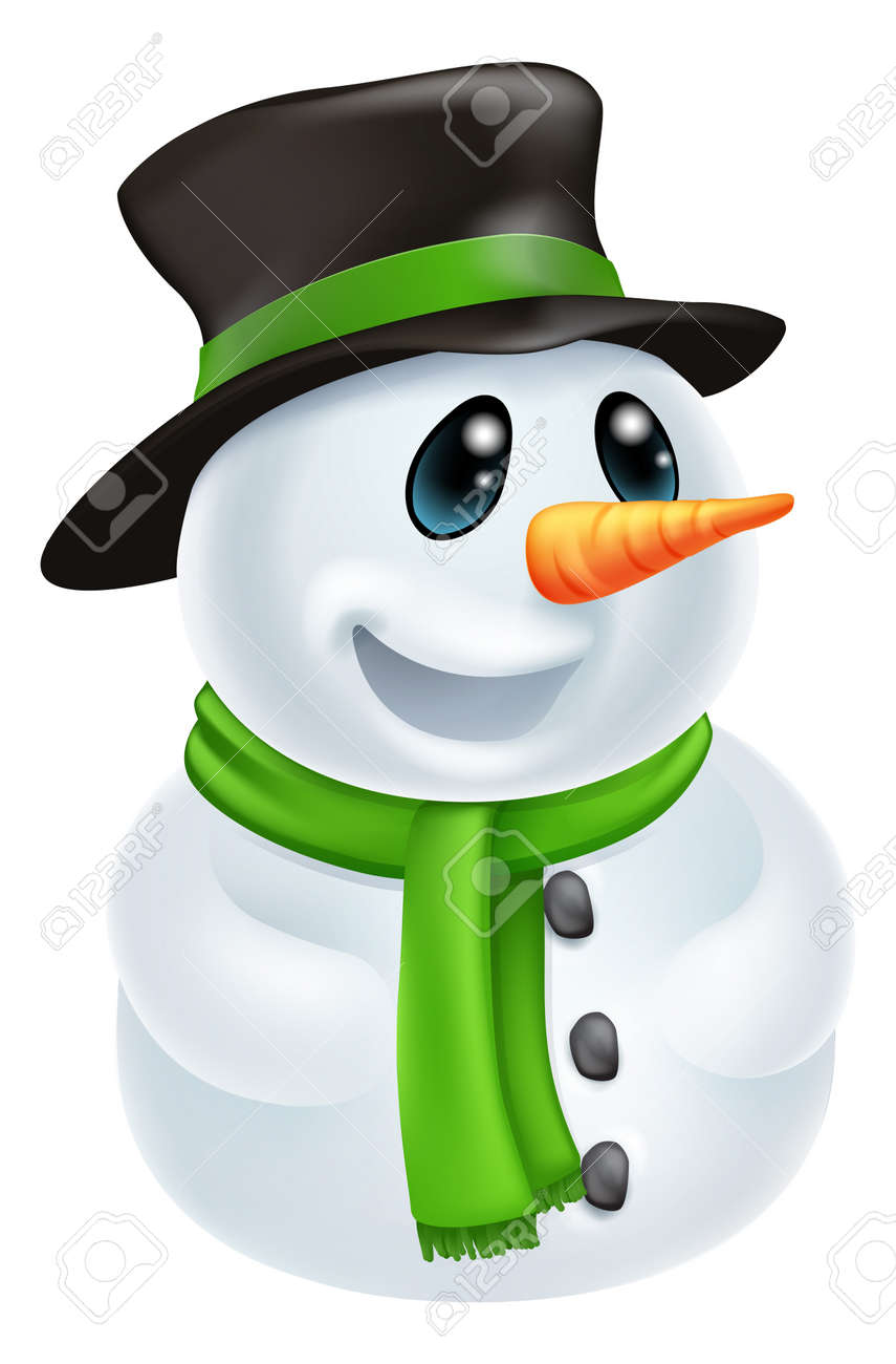 Happy Cute Cartoon Christmas Snowman Character With Hat And Green ...