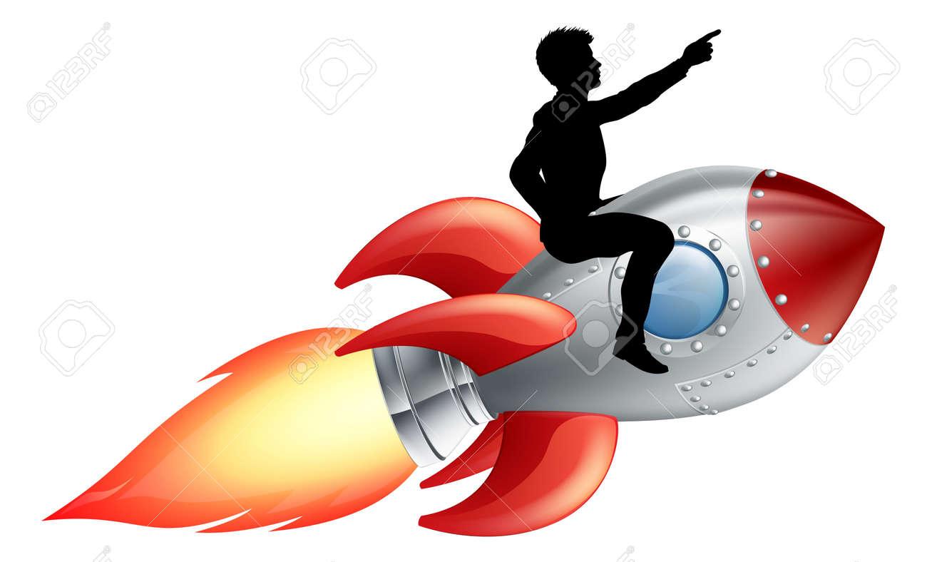 [Jeu] Suite d'images !  - Page 6 15345734-Un-homme-d-affaires-assis-cheval-une-fus-e-Concept-pour-l-innovation-le-succ-s-ou-innover-en-affaire-Banque-d%27images