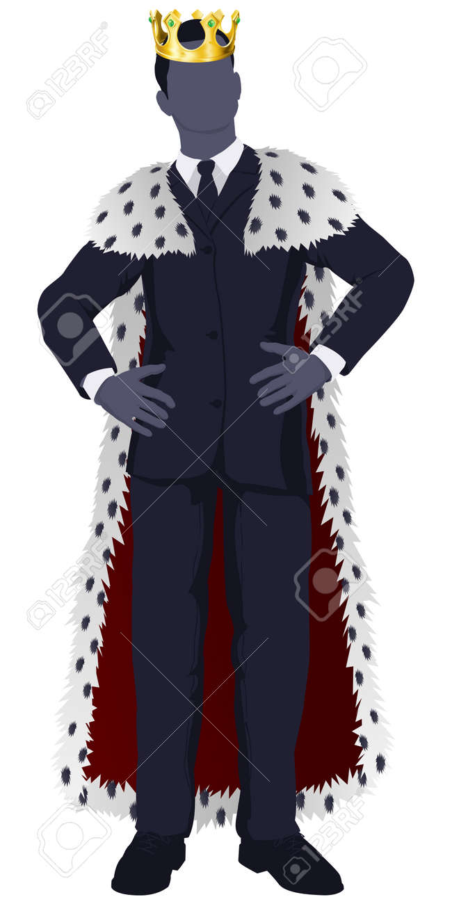 Illustration of a business man king in business suit with royal cape and crown. Stock Vector - 15423899