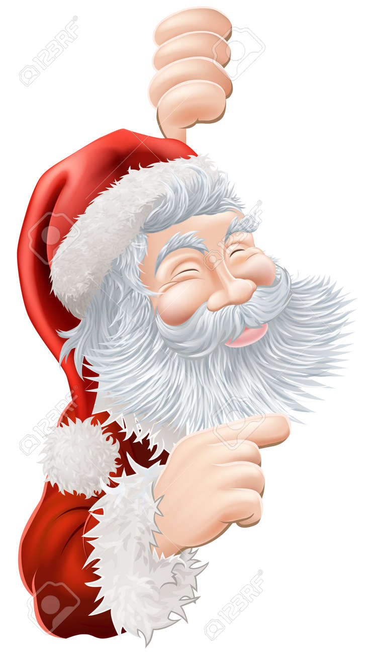 Illustration of happy Christmas Santa Claus peeping round and pointing Stock Vector - 15423923