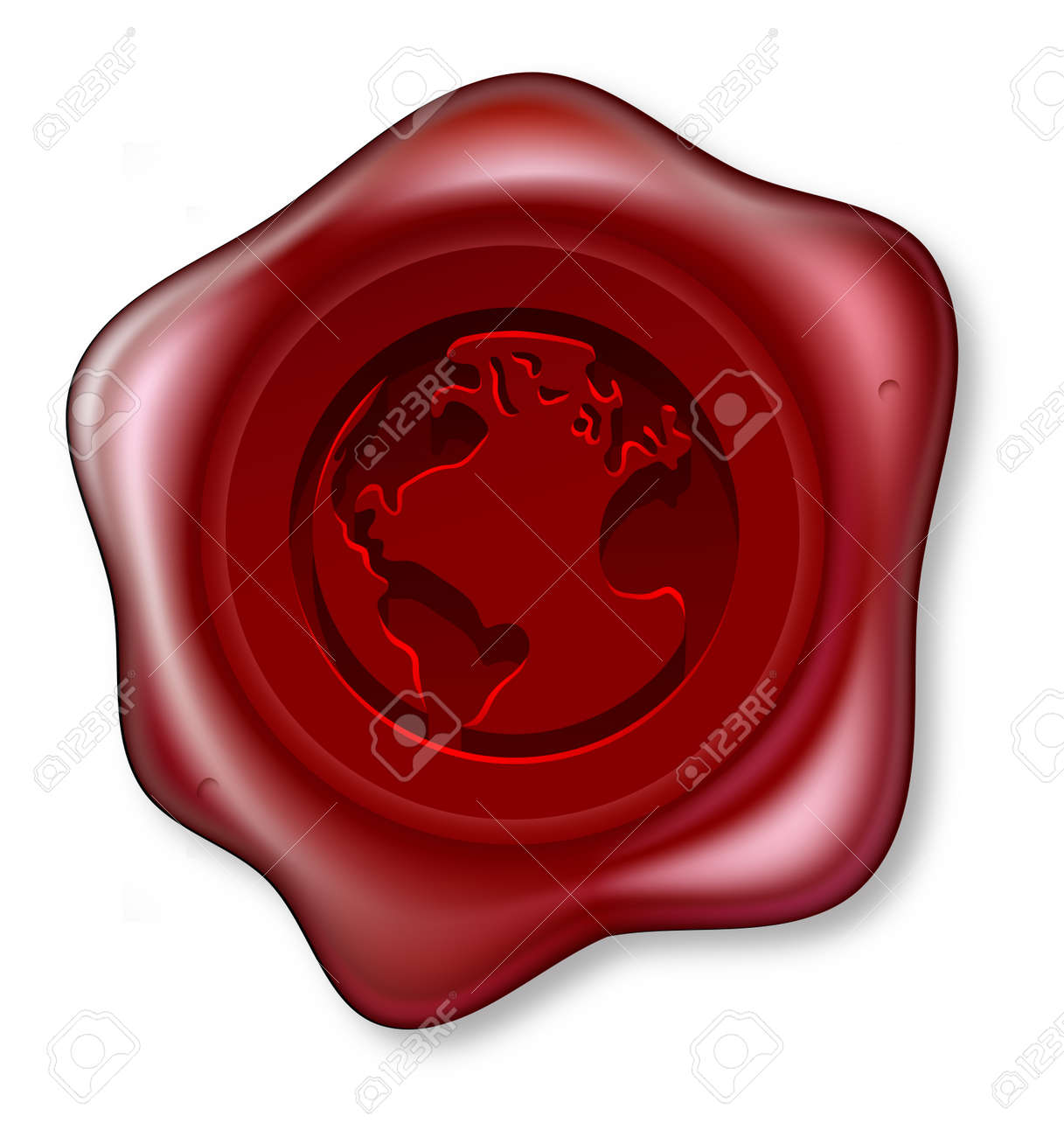 A red sealing wax seal with a world globe motif embossed on it Stock Vector - 15423925