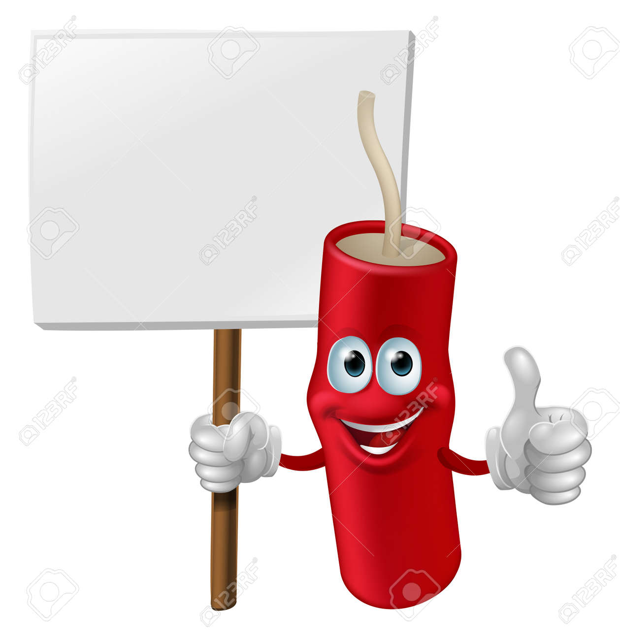 Illustration of a fireworks man holding a sign and doing a thumbs up gesture Stock Vector - 15470355