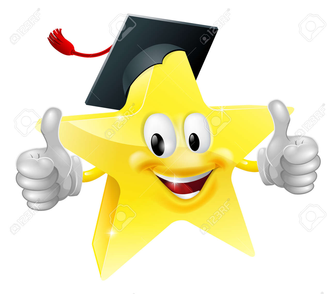 Cartoon star mascot with a graduate's mortarboard cap on giving a thumbs up Stock Vector - 15470358
