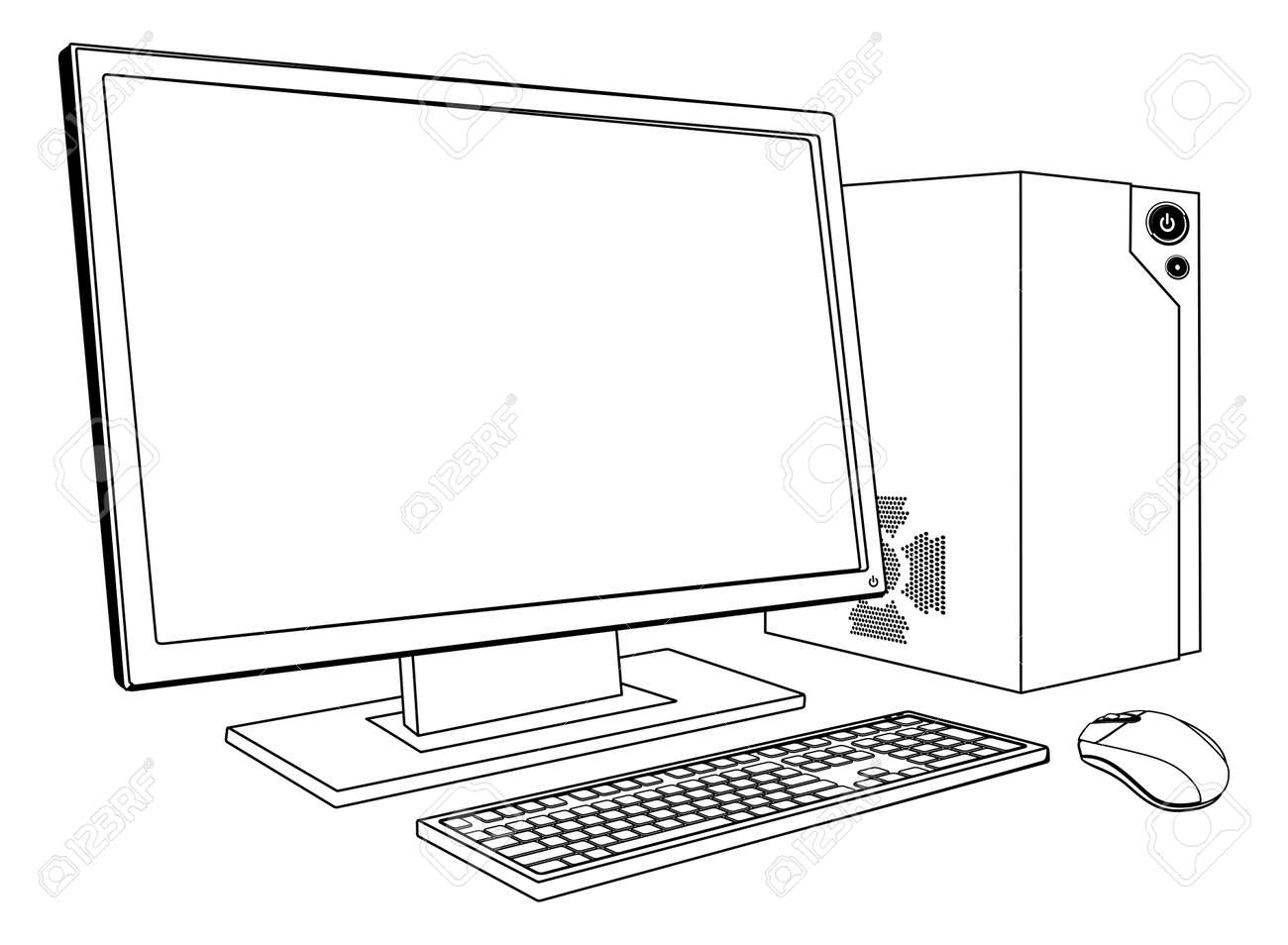 A black and white illustration of desktop PC computer workstation. Monitor, mouse keyboard and tower - 15537685