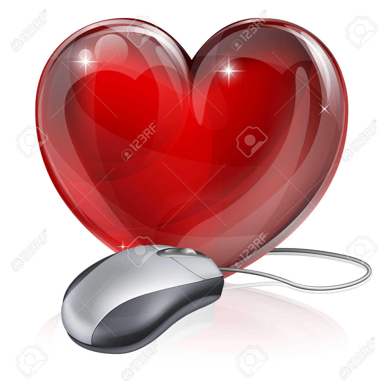 Illustration of a computer mouse connected to a red heart symbol, concept for online dating, romance or similar Stock Vector - 15567709
