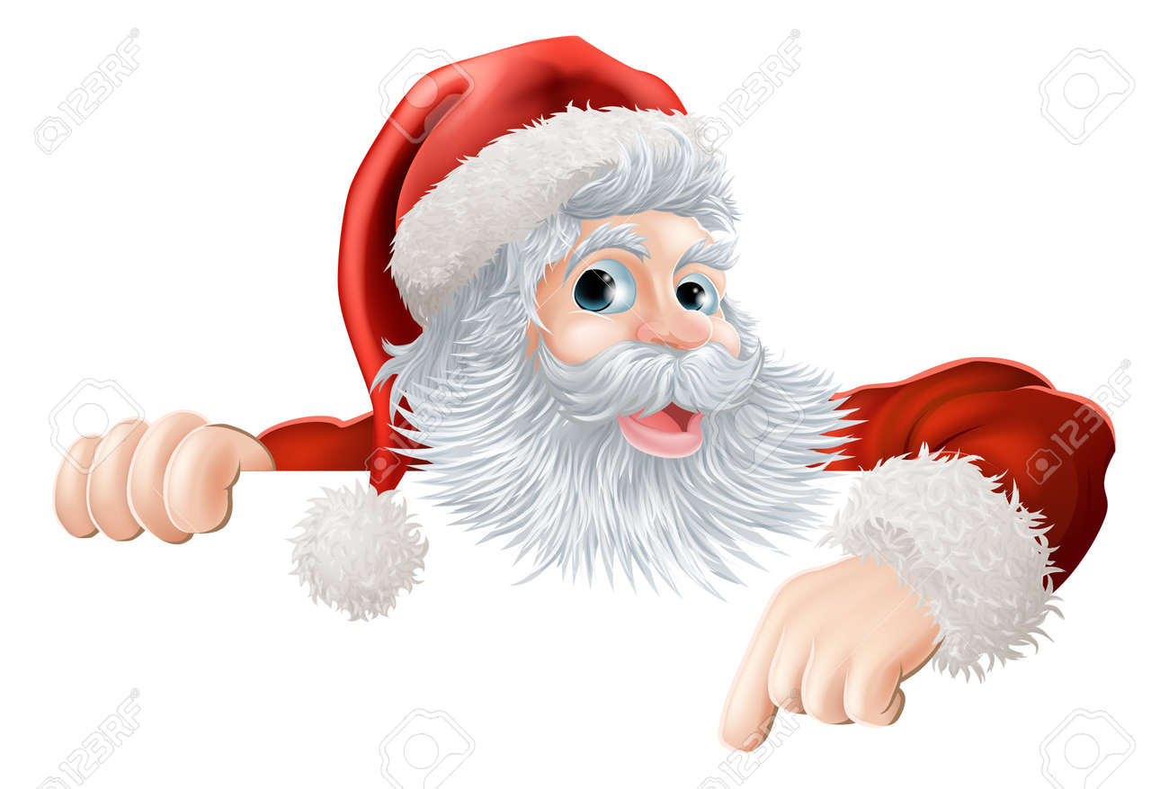 Cartoon illustration of Santa Claus pointing down at Christmas message or sign Stock Vector - 15567713