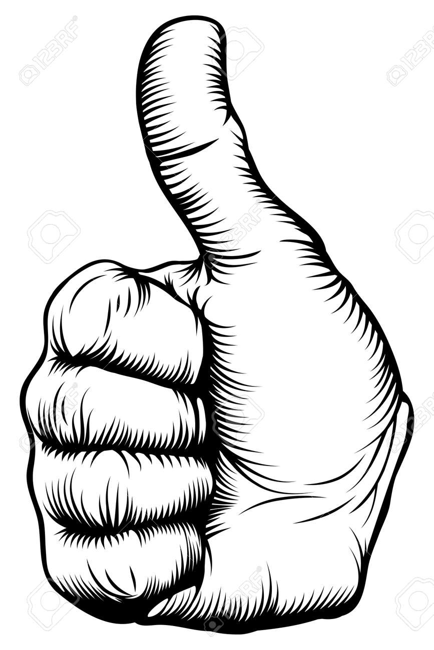 Illustration of a hand giving a thumbs up in a woodblock style - 15611120
