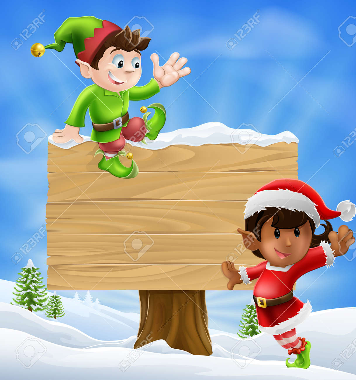 Seasonal Cartoon Of Two Christmas Elves And A Sign In The Snow ...