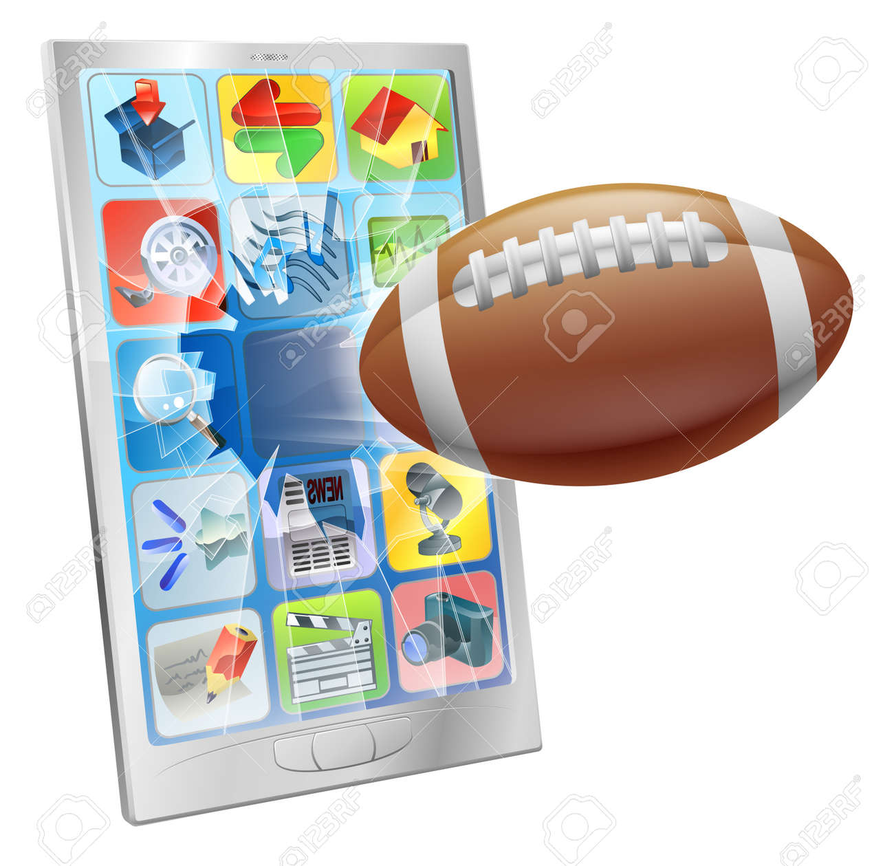Illustration of an American football ball flying out of mobile phone screen Stock Vector - 15656889