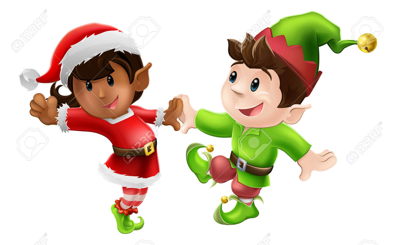 Two Happy Christmas Elves Enjoying A Christmas Dance In Santa ...
