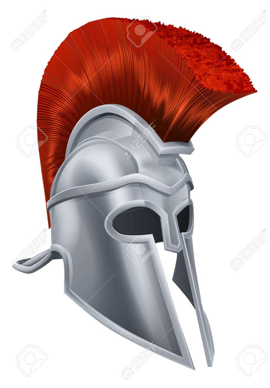 Illustration Of An Ancient Greek Warrior Helmet Spartan Helmet