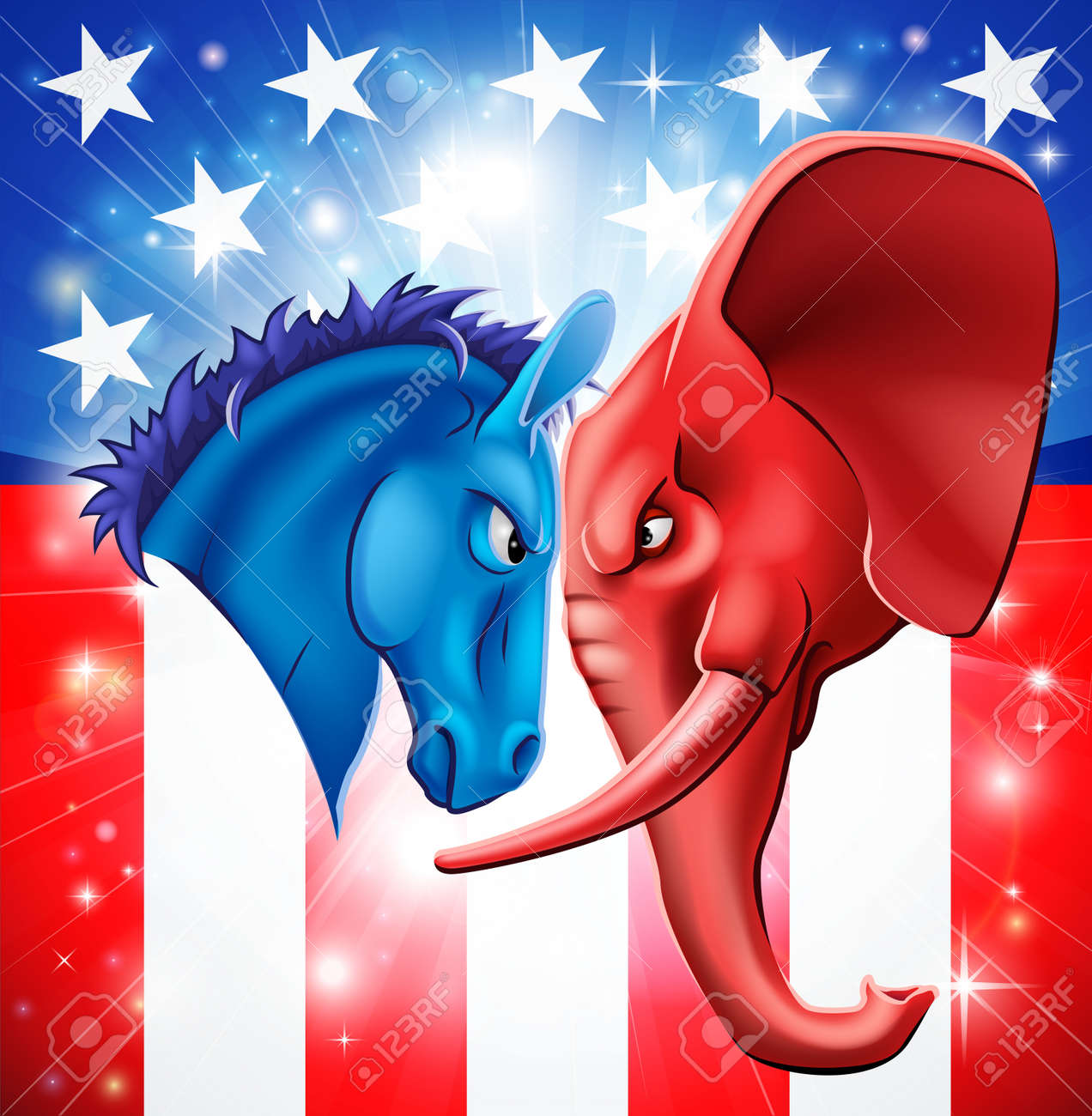 American Politics Concept Illustration Of A Donkey And Elephant