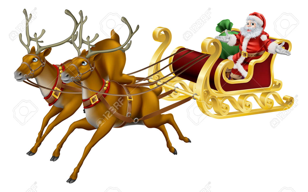 illustration of santa in his christmas sled being pulled by reindeer stockfoto 15858656 - Christmas Sled