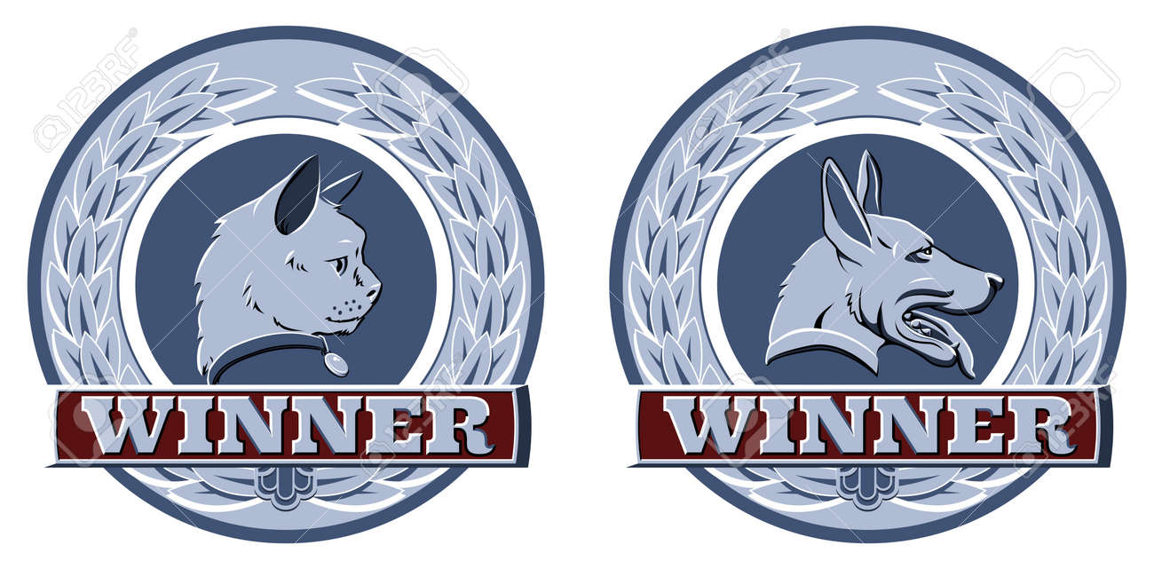 Illustration of cat and dog winners badges or shields in blue and red Stock Vector - 15931155