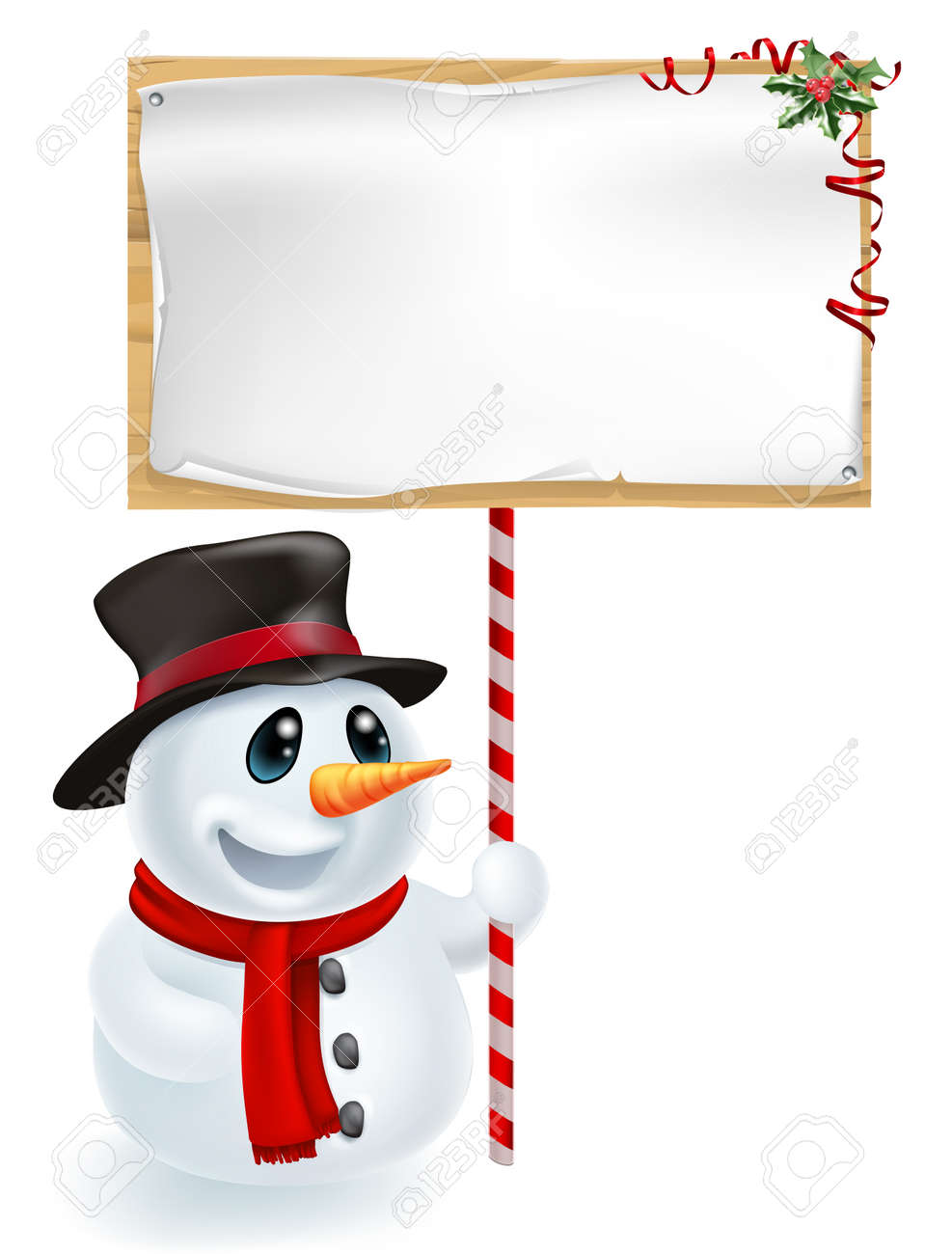 happy christmas snowman holding a christmas sign and smiling royalty