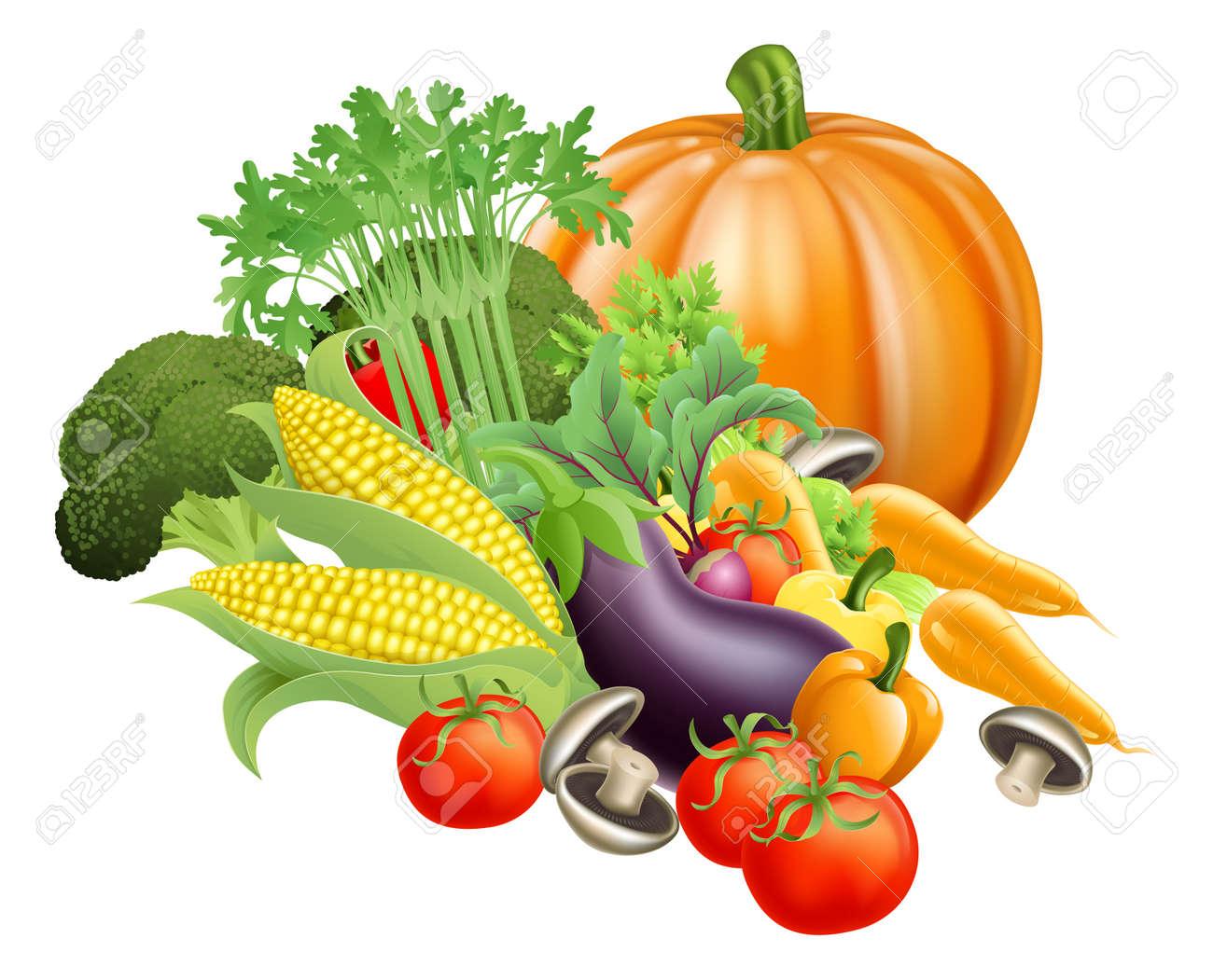 Illustration of produce assortment of healthy fresh vegetables - 15997826