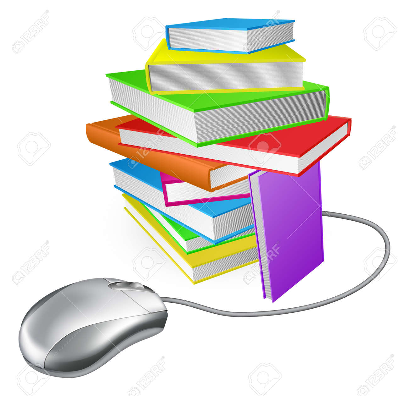 Book stack computer mouse concept. Could be for online library, ebooks, or internet e learning or distance learning Stock Vector - 16242790