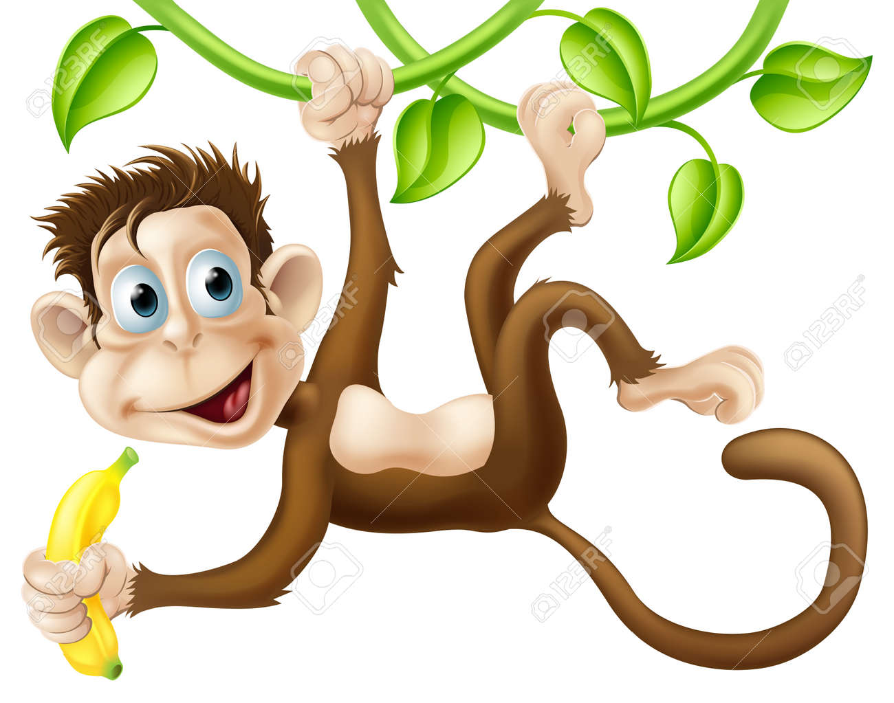 A Cute Monkey Swinging From Vines With A Banana In His Hand