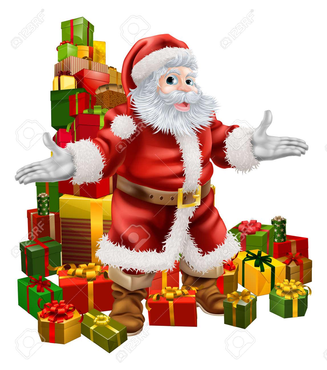 an illustration of santa claus with a big stack of christmas gifts behind him stock vector - Santa Claus Gifts