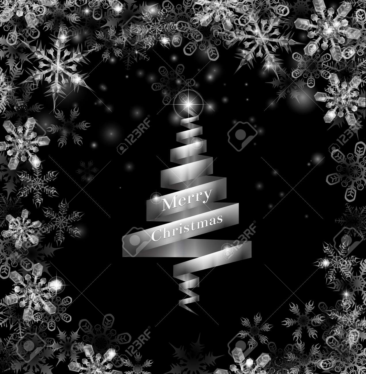 Christmas tree black and silver - Abstract Silver Ribbon Christmas Tree Illustration With Beautiful Snowflakes In A Border Round The Frame Stock