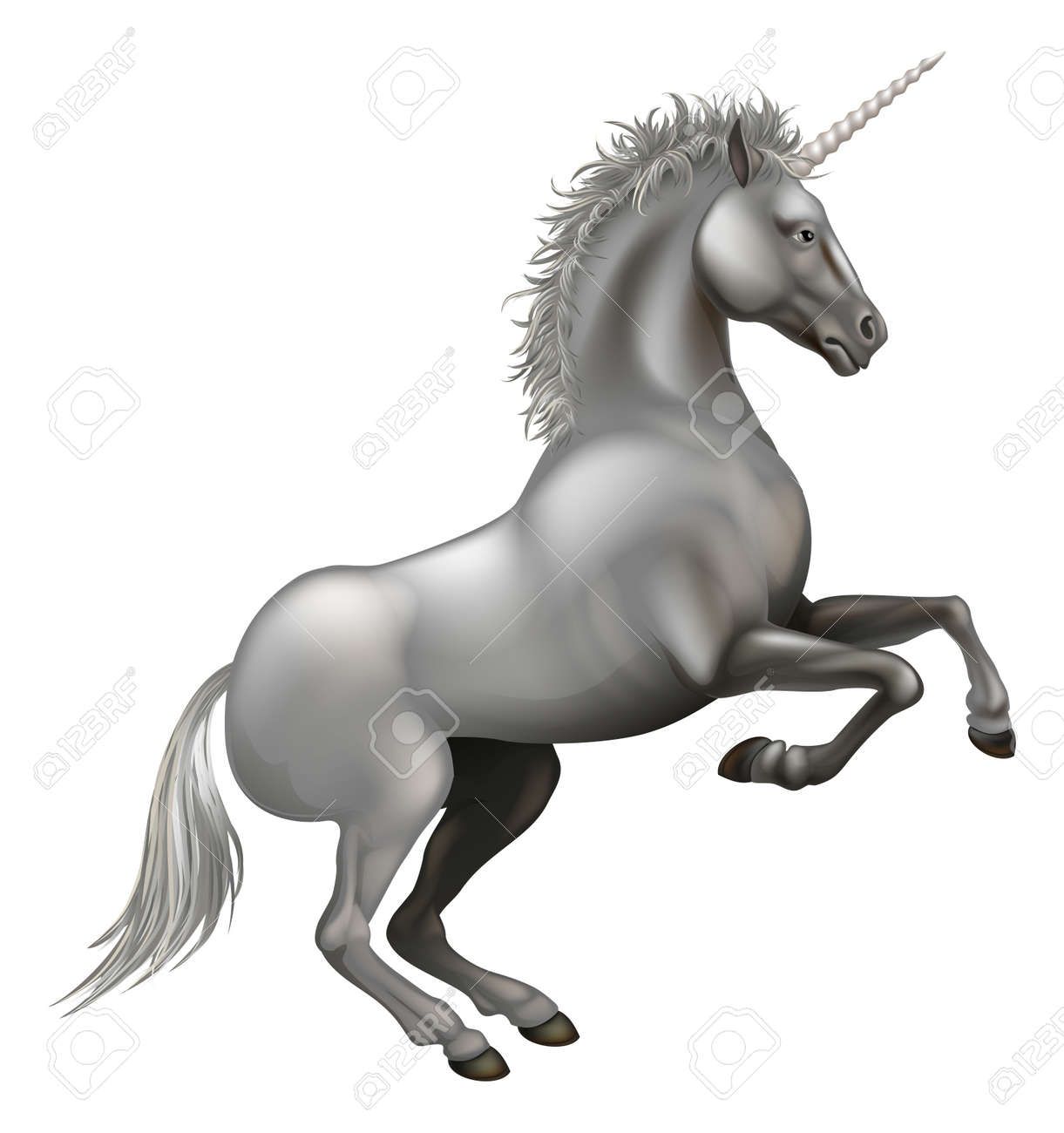 Illustration of a powerful unicorn rearing on its hind legs Stock Vector - 16333428