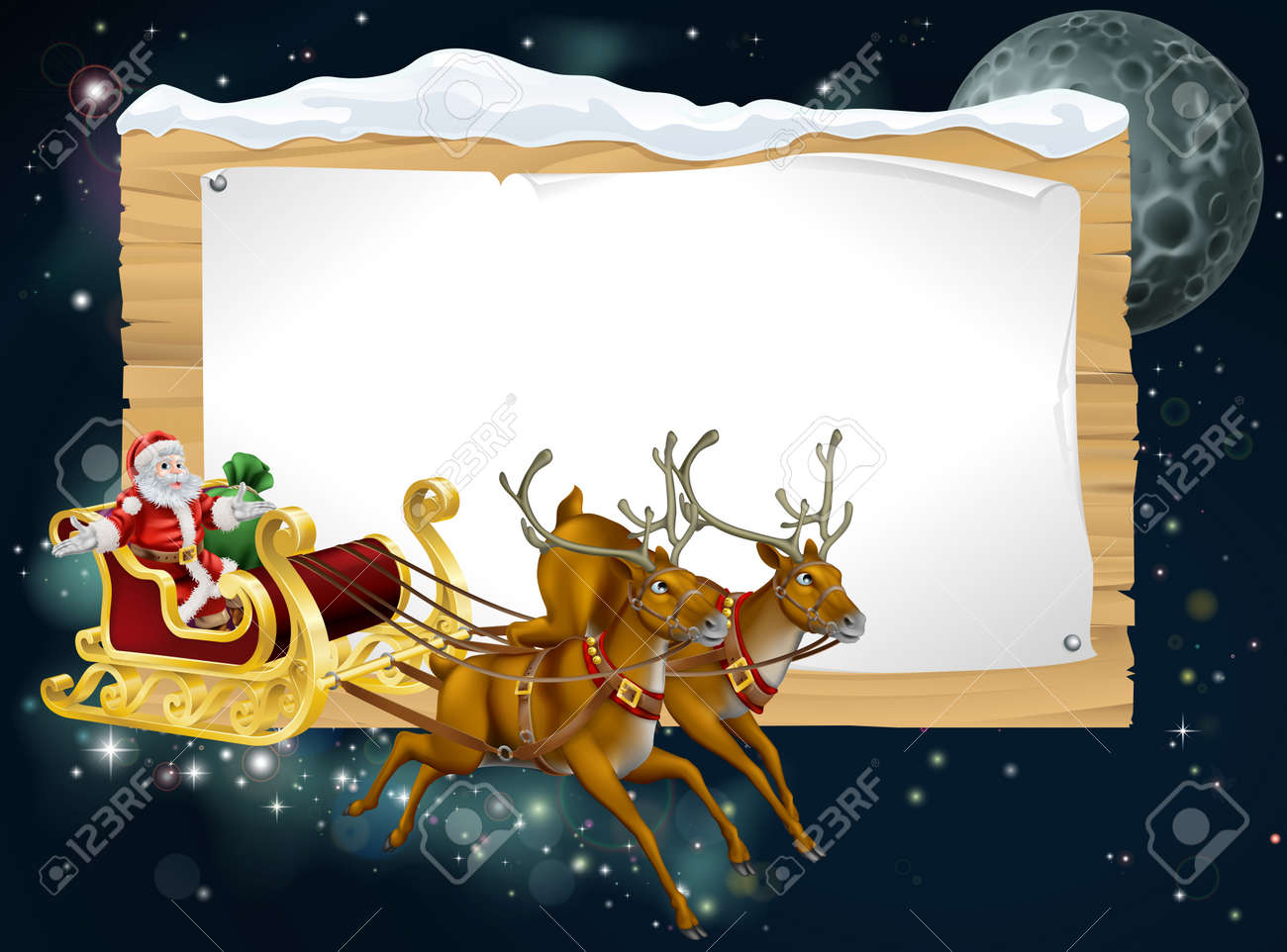 Santa Christmas sleigh background with Santa riding in his sleigh delivering Christmas gifts Stock Vector - 16333451
