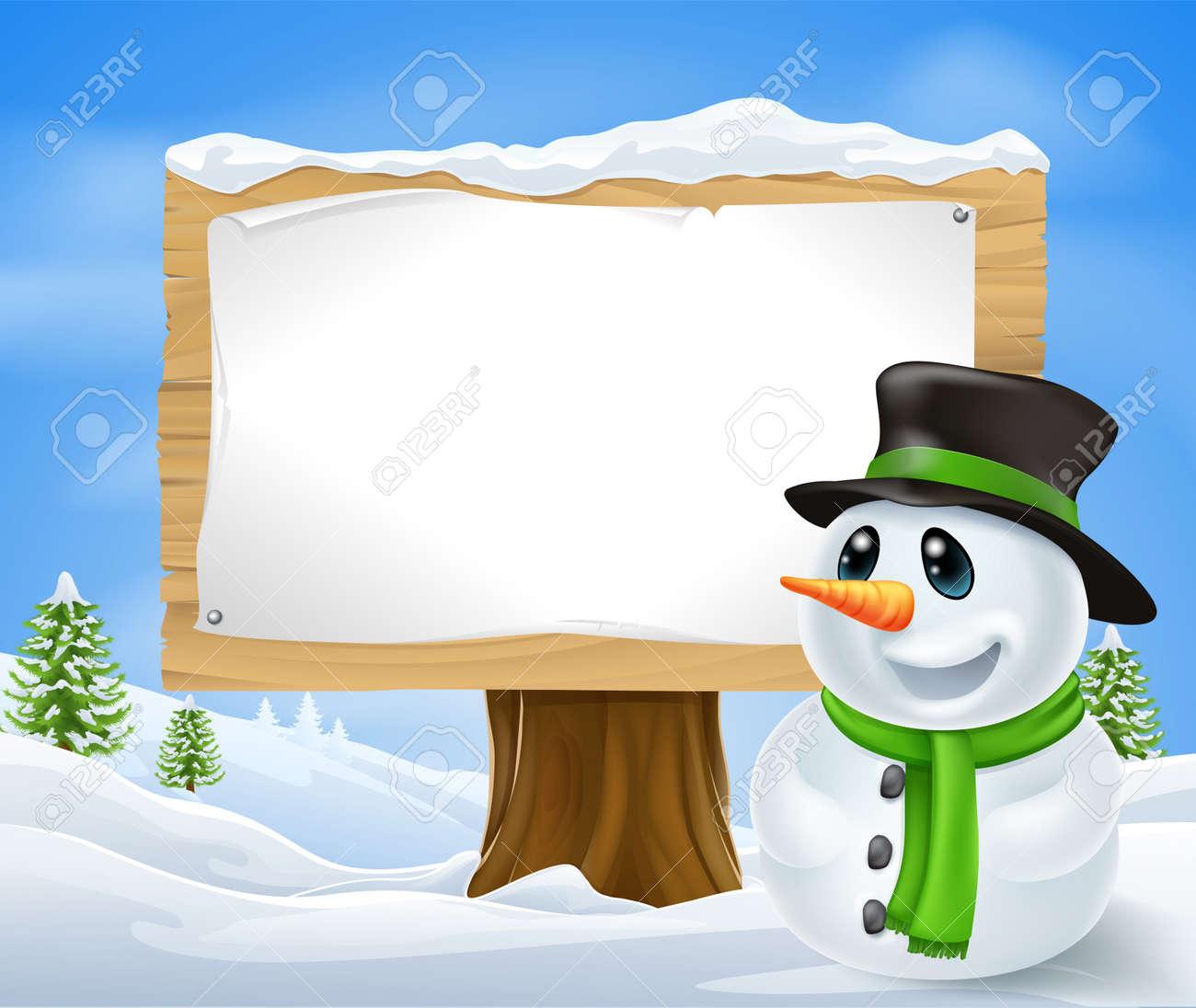 Navidad Muñeco De Nieve Y Gran Cartel De Madera De Navidad Con ...