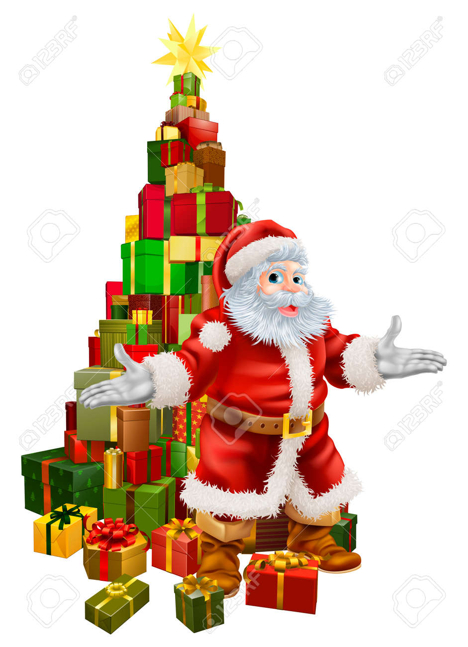 An illustration of happy Christmas Santa Claus with a large stack of presents or gifts in a Christmas tree shape with a star on top. Stock Vector - 16477130