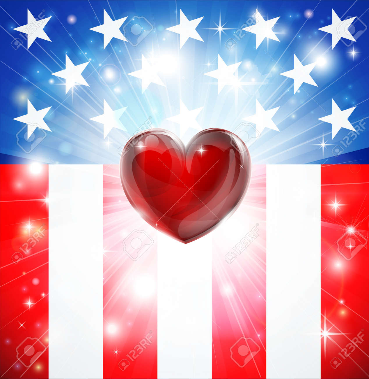 American flag patriotic background with heart, concept for love of country. Great for 4th of July or military themes. Stock Vector - 16477086