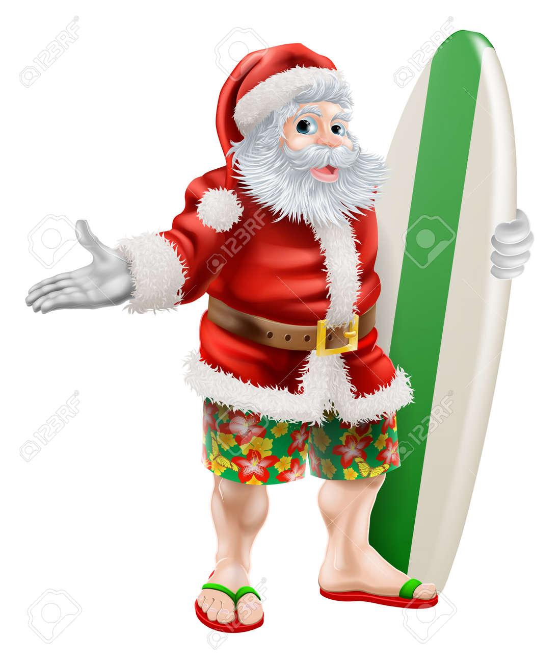 An Illustration Of A Cartoon Santa In Beach Board Shorts Holding ...