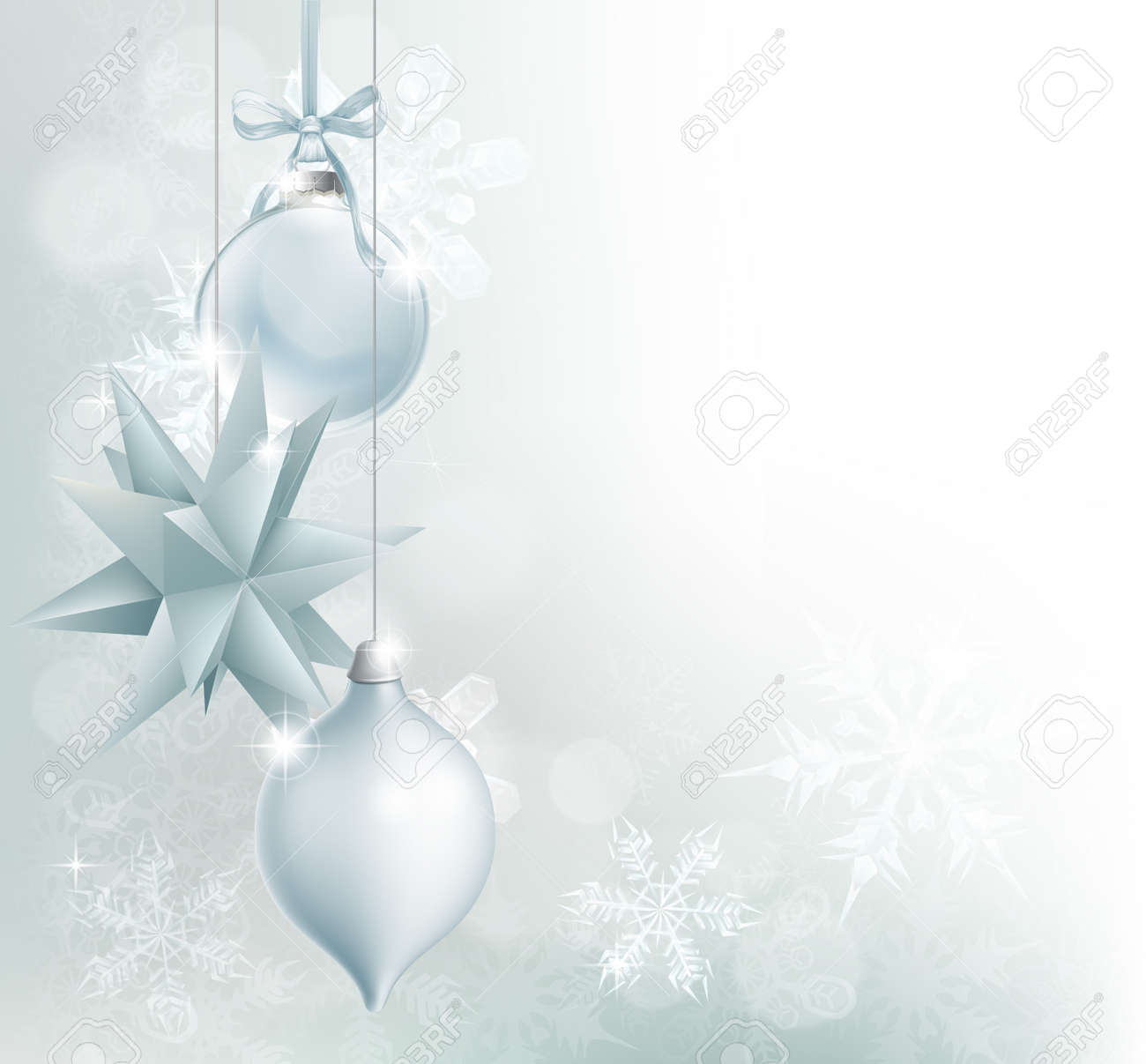 0fba7c789b48a A blue and silver snowflake and Christmas bauble decoration background with  hanging ornaments